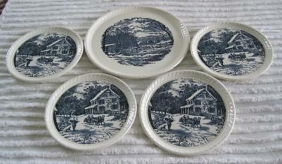 Royal China Currier and Ives Five Piece Dessert Set-Cake Plate & Four Plates
