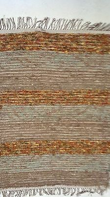 Amish Loom Rug Tan Rust and Aqua with White Brown Fringe 40  Inch Rectangle