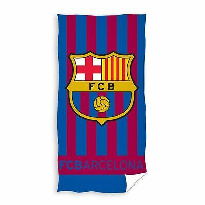 Official Fc Barcelona Stripe Towel Kids Football Fan 100% Cotton New Free P+P