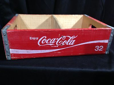 Vintage 1970's Coke Coca Cola Red Wooden Crate Carrier Box Divided