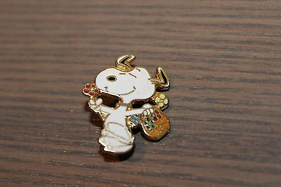 Snoopy Carrying a Flower Basket Collectible Pin