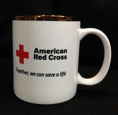 American Red Cross Coffee Mug/Cup White w/Gold Rim Together, We Can Save A Life