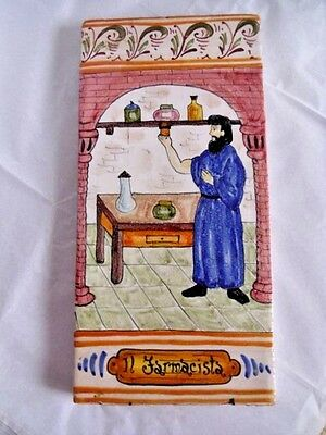 Majolica Portugal Sicilian Pottery Brick Ad  Tile Pharmacist Farmacista Enameled