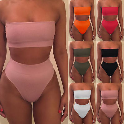 Women Bandeau Bandage Swimwear Bikini High Waist Two piece Swimsuit Bathing Suit