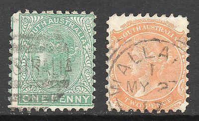South Australia #64 & 65 used. watermark crown and SA letters close