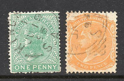 South Australia #97 & 98 used, perf 15, watermarked crown and letters SA close