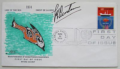 Jacques Cousteau Hand Signed Autograph Wfuna United Nations Fdc 1974 Law Of Sea