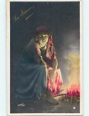 Pre-Linen foreign BAREFOOT FRENCH GYPSY TYPE WOMAN BY THE CAMPFIRE HL7944