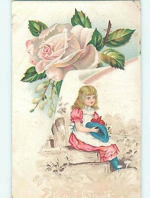 Pre-Linen postcard sized trade card CUTE GIRL IN PINK DRESS HOLDS HER HAT HL4908