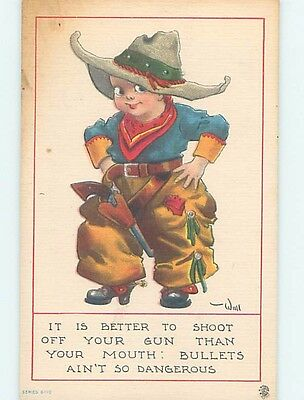 Pre-Linen western signed WALL - BOY DRESSED AS OLD WEST COWBOY WITH GUN HL6855