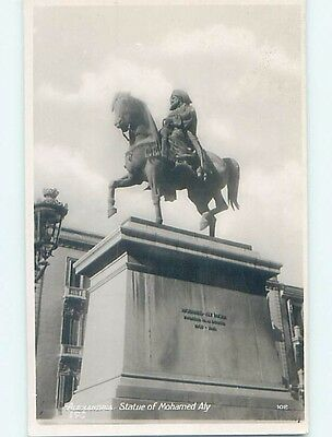 old rppc MOHAMMED ALY STATUE Alexandria Egypt HM1495