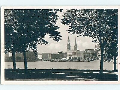 old rppc BUILDINGS ALONG THE RIVER Hamburg Germany HM1692