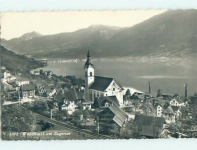 old rppc AERIAL VIEW OF TOWN Walchwil Am Zugersee - Zug Switzerland HM1883