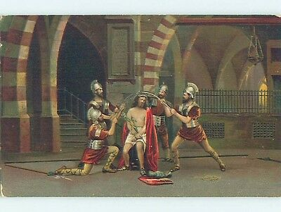 Pre-Linen foreign religious JESUS CHRIST BEING ABUSED BY ROMAN SOLDIERS HL9596