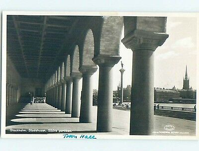 old rppc WALKWAY BY LARGE COLUMNS Stockholm Sweden HM1677