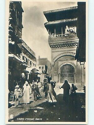 old rppc STREET SCENE BY THE BUILDINGS Cairo Egypt HM1525