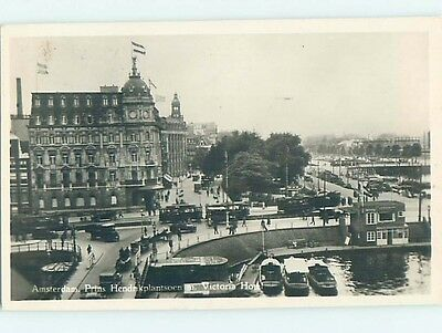 old rppc OLD CARS AND STREETCARS BY BUILDING Amsterdam Netherlands HM1646