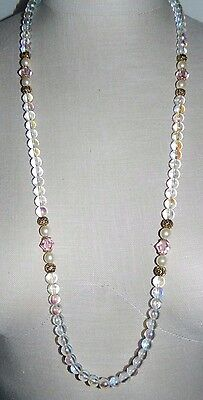 VTG Styled 1928 Signed Gold Tone Clear AB Glass Bead Crystal Necklace