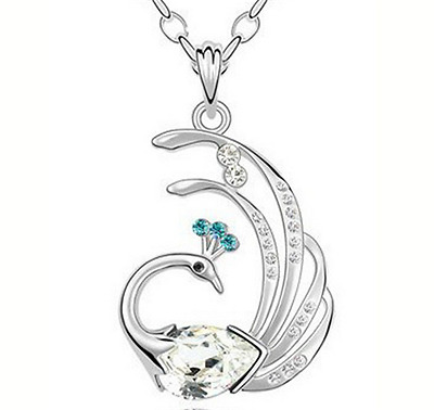 NEW Womens Peacock Clear Crystal Rhinestone Silver Chain Pendant Necklace NEW --