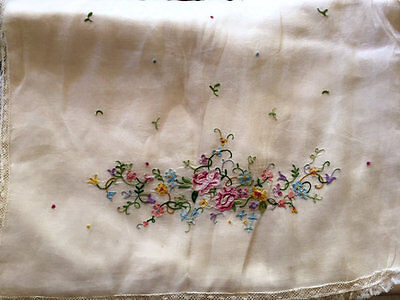 Antique 1920's French Embroidered Flowers Pink Silk Satin Large Lingerie Case