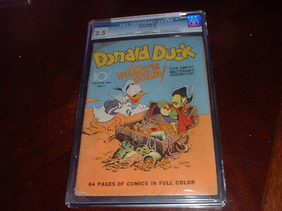 Four Color #9  / Aug.1942 / 1St Carl Barks Donald Duck / Cgc Graded 3.5 / Rare