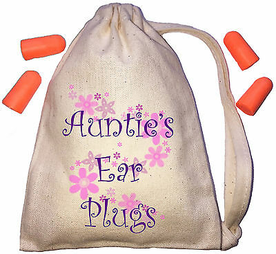 Auntie's Floral Design TINY Ear Plugs Storage Bag & 4 Ear Plugs DIY / Snoring