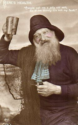 VINTAGE EAS postcard of SAILOR FISHERMAN JOLLY OLD SALT WITH A TANKARD & PIPE