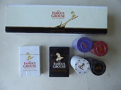 The Famous Grouse Whiskey Poker Set - 2 Packs Cards - 4 Packs Chips New Sealed