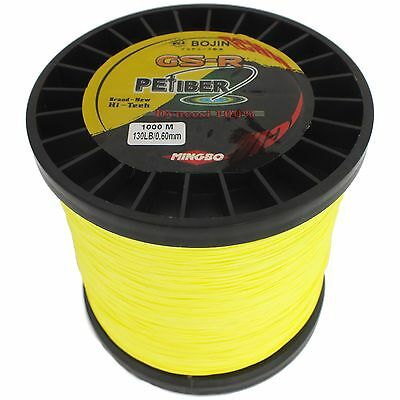 Gsr Pefiber Braid Fishing Line 130Lb 1000M Yellow 8 Strand Made From 100% Uhmwpe