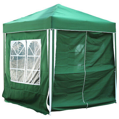 Charles Bentley 2 x 2m Pop Up Gazebo With 3 Side Walls & Windows Marquee - Green