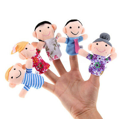6x Hot Baby Kid Sleep Story Play Game Soft Plush Toy Family Finger Puppets Set