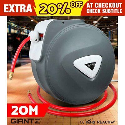 20M GIANTZ Retractable Garden Air Hose Reel Storage Auto Rewind Wall Mounted