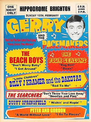 "The Beach Boys / Gerry Pacemakers Brighton 16"" x 12"" Photo Repro Concert Poster"