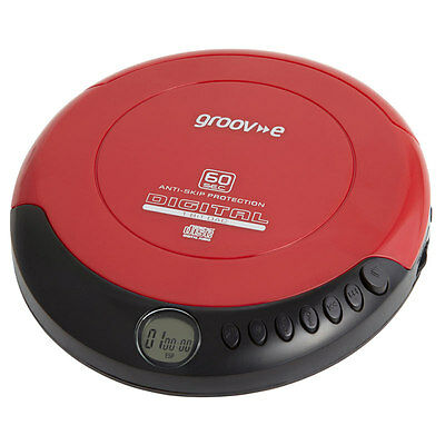 Groov-e Retro Series Personal Portable Sports CD Player  Red New Uk