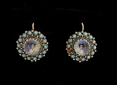 Vintage 14K Gold Mini Painting Blue Cabochon Dangle Earrings for Restoration 6g+