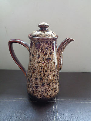 Fosters Pottery Cornwall Brown Drip Honeycomb Coffee Pot 9.9 inches tall