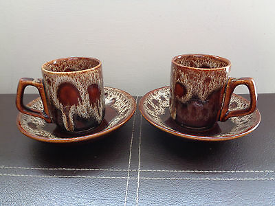 Pair of Fosters Pottery Cornwall cornish Brown honeycomb Cup and Saucer