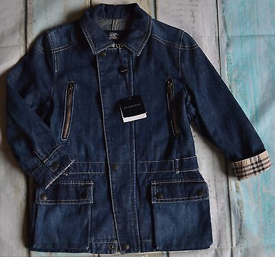 New With Tags Burberry Boy Or Girl Designer Denim Spring Summer Coat 4 Years