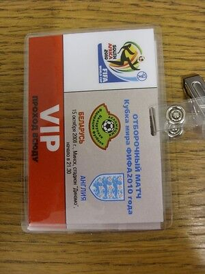 15/10/2008 Ticket: Belarus v England [In Minsk] VIP Delegate Laminated Pass With