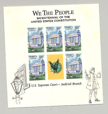 Turks & Caicos 1987 Supreme Court M/S of 5 Unissued Imperf Chromalin Essay
