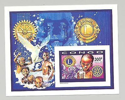 Congo 1991 Doves, Lions Club, Food 1v Imperf Deluxe S/S