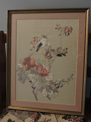 Vintage Asian Japanese Silk Embroidery Framed Art Birds 22x17