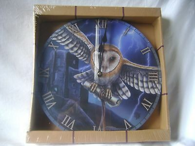 NEW ROUND WALL PICTURE CLOCK LISA PARKER BARN OWL FLYING AND CASTLE 30cm CKP114