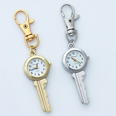 Hot Fashion Silver Gold Pocket Key Design Key Rings Quartz Watch Gifts GL59K