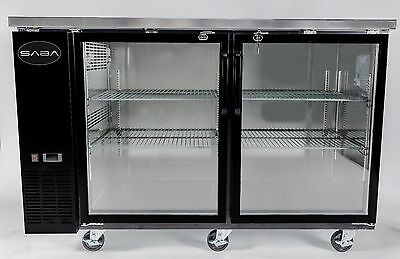 SABA SBB-24-48G Heavy Duty Black Back Bar Cooler with Two Glass Doors 48''