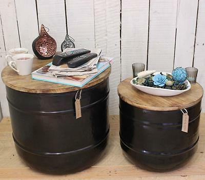 Set of 2 Kamet Storage Side Tables Barrel Shaped Industrial Vintage End Coffee