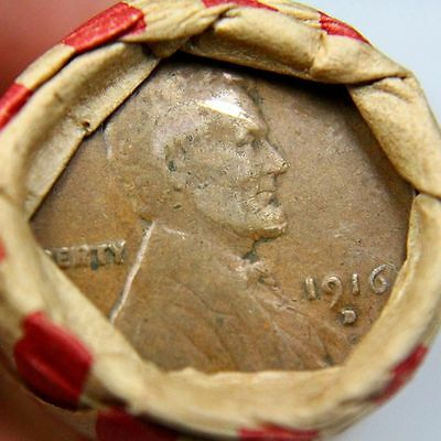 1909 VDB & 1916 D Lincoln Wheat Cent on End of a 50 Coin Wheat Cent Roll 6365