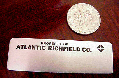 "PROPERTY ATLANTIC RICHFIELD OIL CO ARCO GASOLINE 2"" x 5/8"" ALUMINUM MINI EMBLEM"