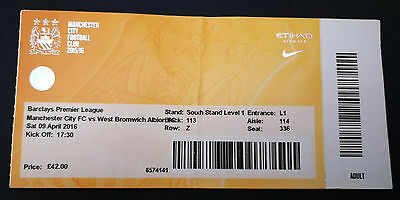 Used Ticket 2015/16 Manchester City v West Bromwich Albion 9/4/16