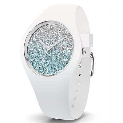 Ice-Watch Ice-Lo White blue small Uhr Damenuhr Kautschuk Weiß 013425